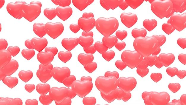 Fondo con corazones de aire. render 3d