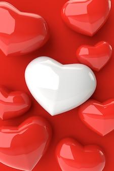 Fondo de corazones, render 3d.