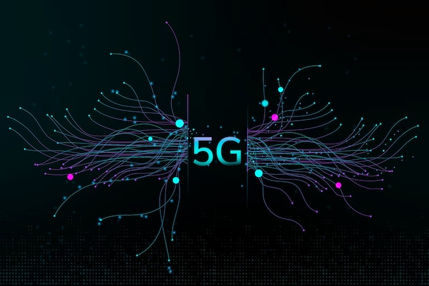 Fondo corporativo digital de puntos de partículas de tecnología 5g