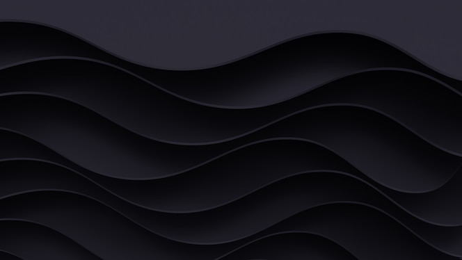 Fondo de corte de papel oscuro realista. Cartel de papel abstracto con textura con capas onduladas. Imitación de relieve topográfico.