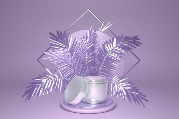Fondo cosmético mínimo para la presentación del producto maqueta de crema en el podio y palma púrpura en la ilustración de fondo de color violeta pastel