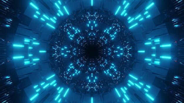 Fondo cósmico con luces láser azul claro y oscuro