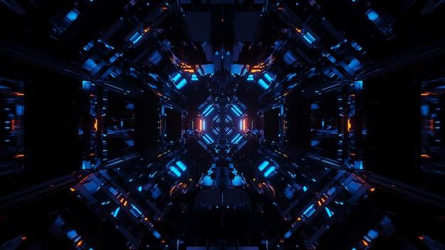 Fondo cósmico con luces láser azules con formas geniales.