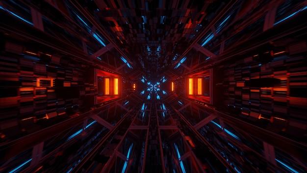 Fondo cósmico con luces láser de colores con formas geniales