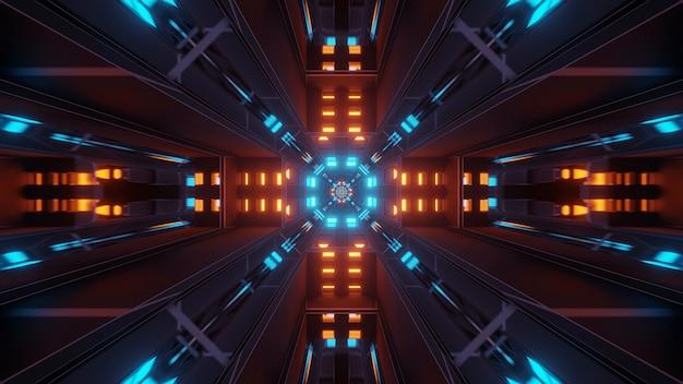 Fondo cósmico con luces láser de colores naranja y azul
