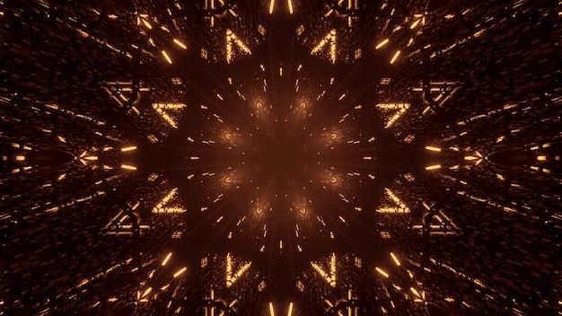 Fondo cósmico de luces láser doradas y marrones.