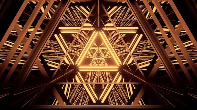 Fondo cósmico con luces láser doradas.