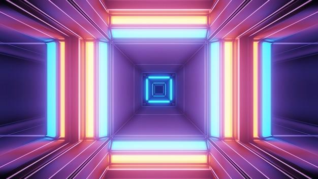 Fondo cósmico con luces láser geométricas de colores, perfecto para un fondo de pantalla digital