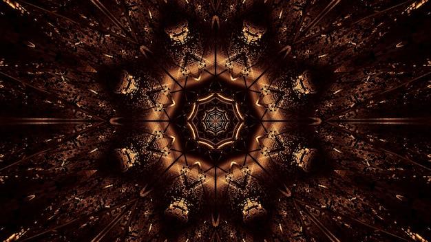 Fondo cósmico de luces láser marrones y doradas.