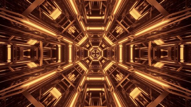 Fondo cósmico con luces láser negras y doradas