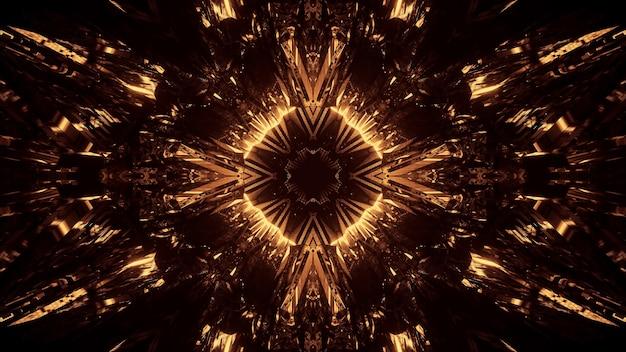Fondo cósmico con luces láser de neón doradas, perfecto para un fondo digital