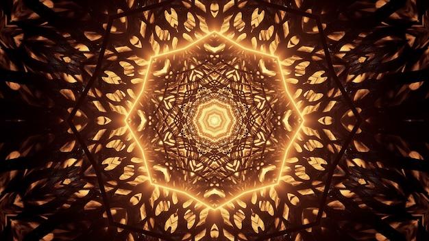 Fondo cósmico con luces láser de neón doradas.