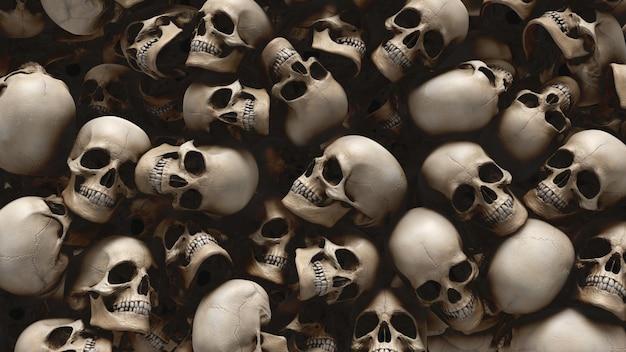 Fondo de cráneos humanos de renderizado 3d para halloween y concepto de apocalipsis.