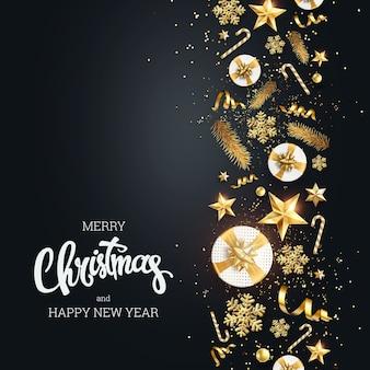 Fondo creativo, borde decorativo de navidad hecho de elementos festivos sobre un fondo claro.