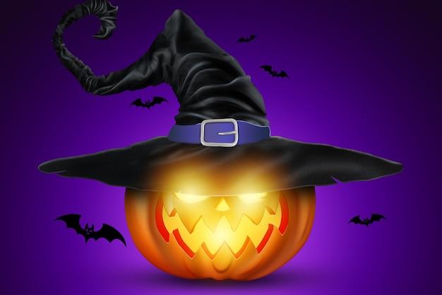 Fondo creativo de halloween. calabaza sobre un fondo morado.