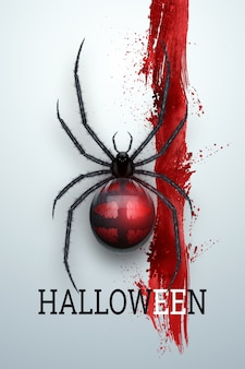 Fondo creativo de halloween. inscripción de halloween y araña sobre un fondo claro.