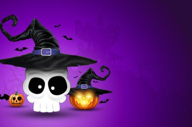 Fondo creativo de halloween. letras de fiesta de halloween e imagen de calabaza.