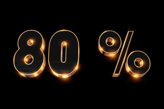 Fondo creativo, venta de invierno, 80 por ciento, descuento, números de oro 3d.