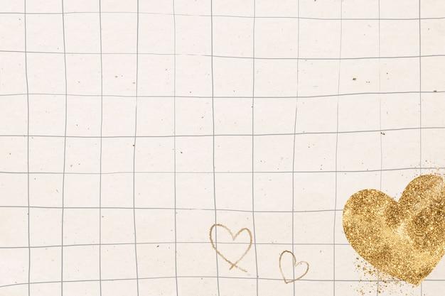 Fondo de cuadrícula de corazón dorado brillante