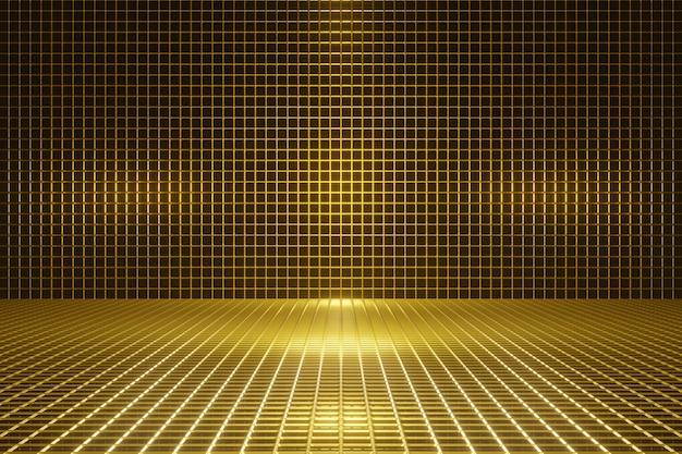 Fondo de cuadrícula dorada renderizada en 3d