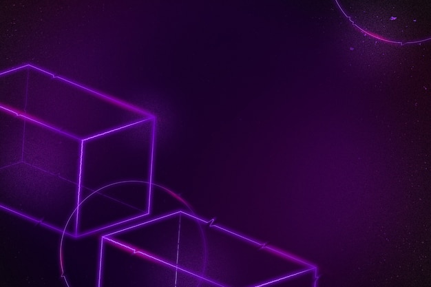 Fondo cuboide 3d de neón púrpura geométrico