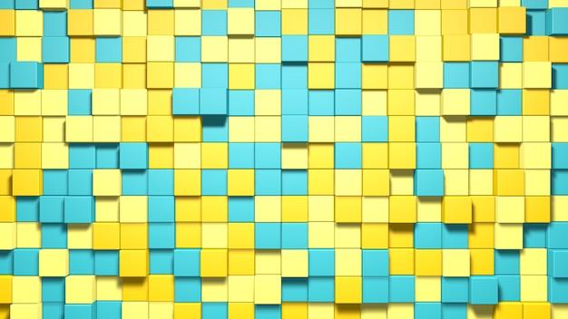 Fondo de cubos azules y amarillos abstractos 3d