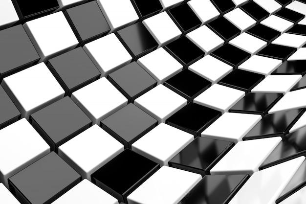Fondo de cubos de blanco y negro. representación 3d