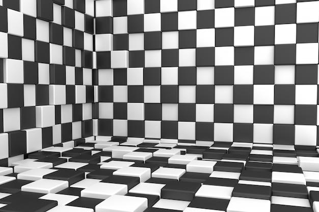 Fondo de cubos blanco y negro. representación 3d