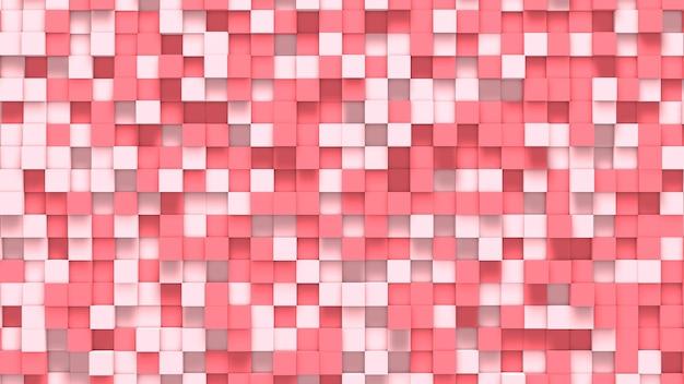 Fondo de cubos de color rosa y blanco abstracto claro y oscuro 3d