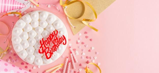 Fondo de cumpleaños fiesta con pastel