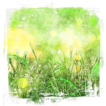 Fondo de acuarela de imagen de hierba verde