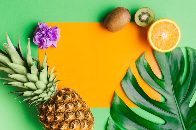 Fondo de frutas tropicales con plantilla de tarjeta