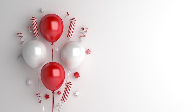Fondo de decoración del día de la independencia de indonesia con globos de fuegos artificiales