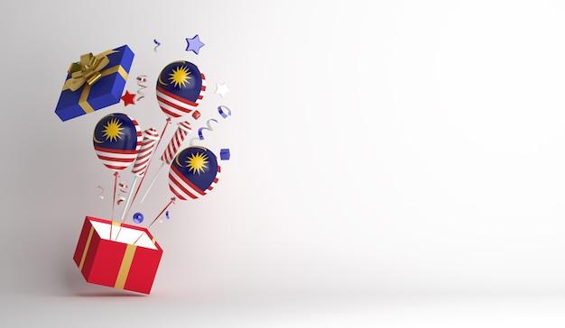 Fondo de decoración del día de la independencia de malasia con caja de regalo de globo
