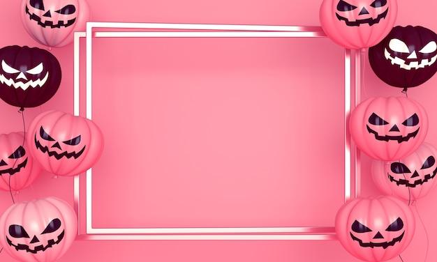 Fondo de decoración de feliz día de halloween con globo de calabaza rosa, espacio de copia