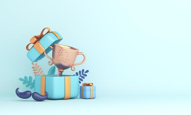 Fondo de decoración de feliz día del padre con caja de regalo de trofeo