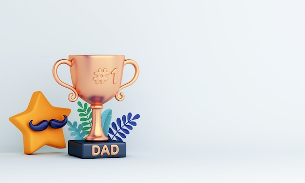 Fondo de decoración de feliz día del padre con estrella trofeo