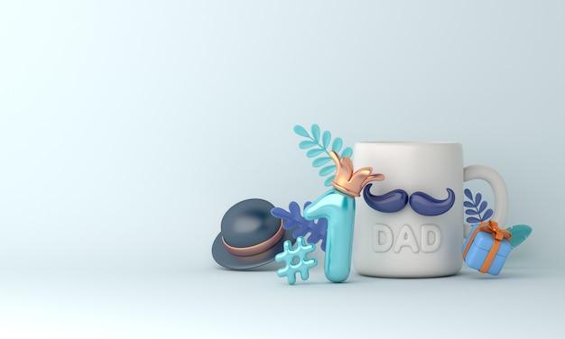 Fondo de decoración de feliz día del padre con sombrero de taza taza