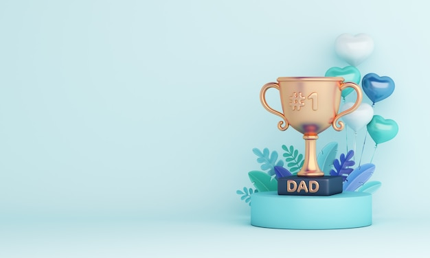 Fondo de decoración de feliz día del padre con trofeo