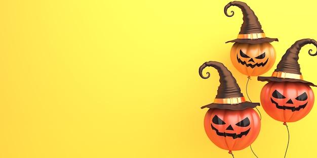 Fondo de decoración de halloween feliz con espacio de copia de sombrero de bruja de globo de calabaza