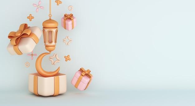 Fondo de decoración islámica con caja de regalo linterna árabe media luna
