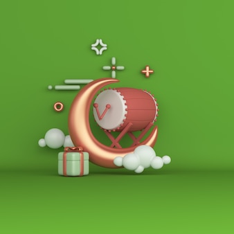 Fondo de decoración islámica con caja de regalo de media luna de tambor bedug
