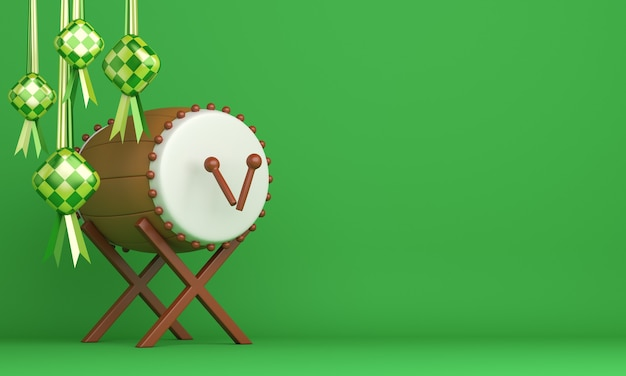 Fondo de decoración islámica con espacio de copia de ketupat de tambor bedug