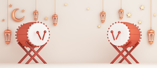 Fondo de decoración islámica con espacio de copia de media luna de linterna de tambor bedug