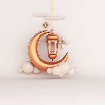 Fondo de decoración islámica con linterna árabe media luna