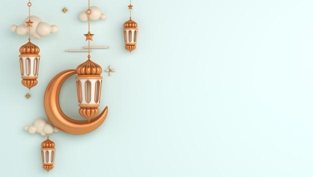 Fondo de decoración islámica con linterna media luna ramadan kareem eid muharram