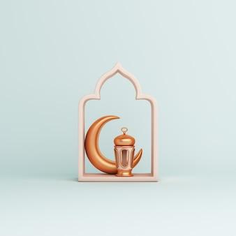Fondo de decoración islámica con media luna de linterna de marco de ventana árabe