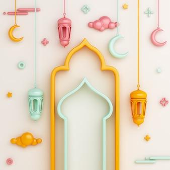 Fondo de decoración islámica con media luna de linterna de ventana árabe