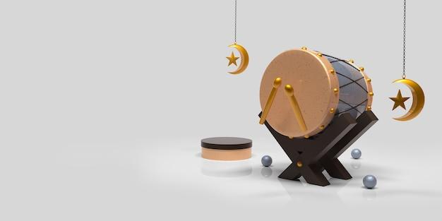 Fondo de decoración islámica de ramadan kareem con tambor bedug