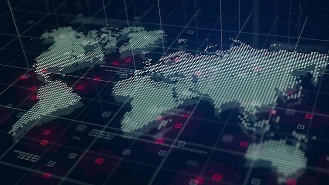 Fondo del azul del holograma del mapa de mundo de digitaces